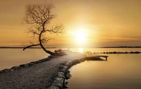path, calm, pier, horizon, trees, water