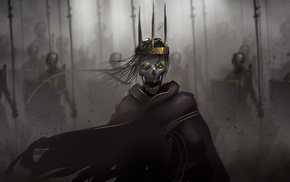 digital art, spooky, coats, skeleton, soldier, shields