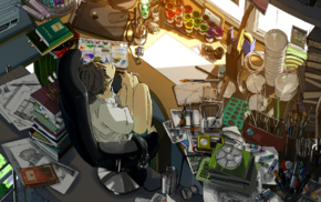 original characters, room, anime girls