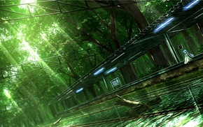 nature, artwork, train station, anime girls, trees, water