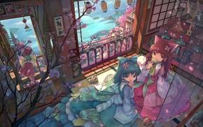 Kochiya Sanae, Hakurei Reimu, Hieda no Akyuu, room, anime girls, Touhou