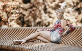 jean shorts, girl, blonde, shorts, legs, depth of field