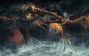 planet, space, mist, digital art, DeviantArt