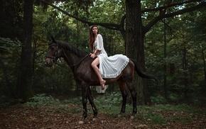 trees, Georgiy Chernyadyev, horse riding, long hair, forest, legs