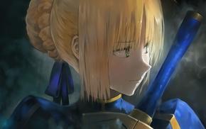 Saber, green eyes, anime girls, anime, Fate Series, blonde