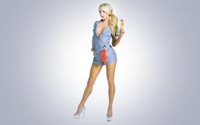blonde, simple background, blue eyes, Sara Jean Underwood, tools, high heels