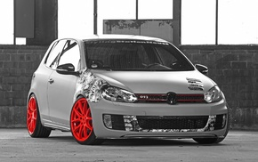 Golf VI, wheels, Golf GTI, Volkswagen, car