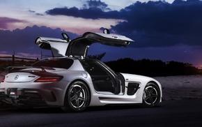 Mercedes, Benz SLS AMG, gull wing door, rear view