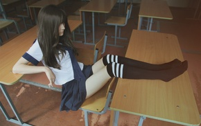 knee, highs, girl, brunette, legs, long hair