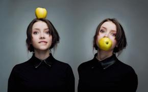 biting lip, short hair, girl, apples, looking at viewer, Maria Menshikova