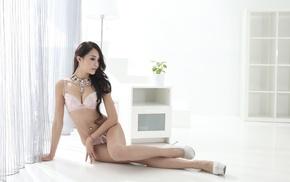 high heels, lingerie, Asian, pierced navel, girl, looking away