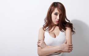 white tops, Asian, girl, white background, portrait