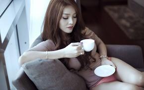 girl, sitting, Asian, underwear