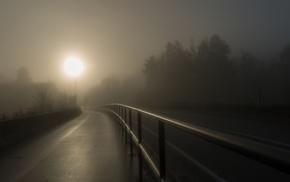 highway, walkway, sunrise, fence, dark, mist