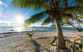 sand, beach, sea, clouds, palm trees, sun rays