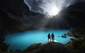 sky, mountain, sunrise, Italy, landscape, turquoise