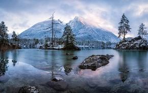 sunrise, mountain, frost, nature, island, landscape