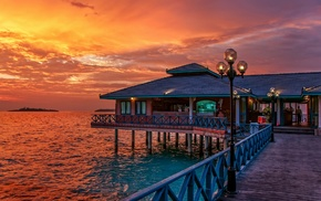 sunset, nature, landscape, tropical, restaurant, Maldives