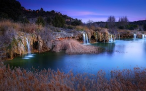 hill, nature, trees, waterfall, landscape, evening