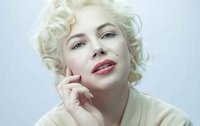 hand on face, short hair, curly hair, Michelle Williams, blonde, green eyes