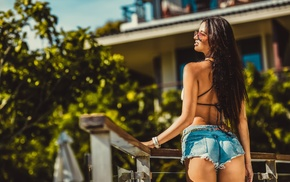 girl with glasses, jean shorts, ass, girl, the gap