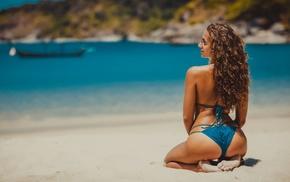 bikini, ass, sea, arched back, girl, curly hair