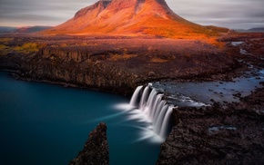 nature, mountain, long exposure, river, waterfall, landscape