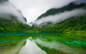 lake, China, Five Colored Lake, Jiuzhaigou Nature Reserve, landscape, clouds