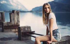 jean shorts, long hair, legs, looking at viewer, sitting, blonde