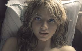 lying on back, portrait, blonde, blue eyes, girl, bare shoulders