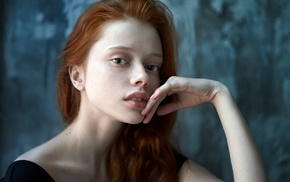 redhead, finger on lips, face, girl, looking at viewer, portrait