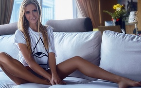 blonde, blue eyes, short tops, couch, smiling, sitting