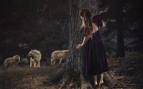 brunette, barefoot, forest, violet dress, girl outdoors, nature