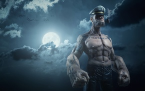 Popeye, realistic, night, clouds, sailors, sailor