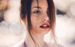 girl, red lipstick, freckles, brunette, piercing, pierced nose