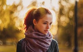 ponytail, girl, jacket, scarf, redhead, earrings