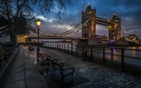 city, cobblestone, Tower Bridge, night, River Thames, London