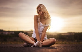 sitting, looking at viewer, skinny, sunset, bare shoulders, long hair