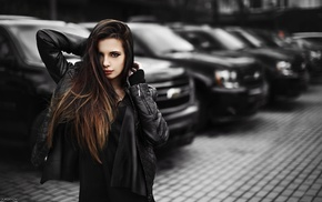 Chevrolet, girl with cars, leather jackets, car, long hair, brunette
