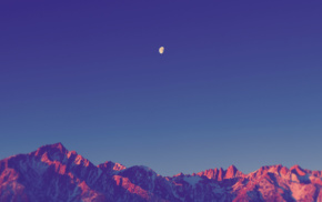 landscape, sunset, moon, mountain, sky, clear sky