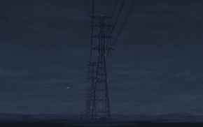 utility pole, power lines, electricity, night