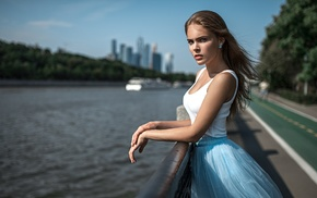 Georgiy Chernyadyev, Alexandra Bykova, skirt, depth of field, cleavage, looking at viewer