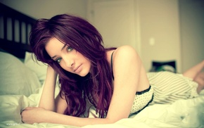 lips, green eyes, Susan Coffey, lying on front, in bed, depth of field