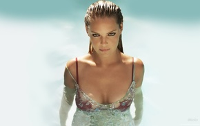 Katherine Heigl, wet clothing, wet body, wet hair, cleavage, smoky eyes