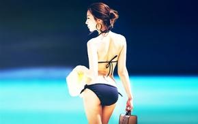 black clothing, bikini, back, hair bun, earrings, Asian