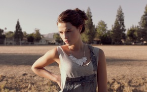 jeans, brunette, earrings, girl outdoors, overalls, necklace