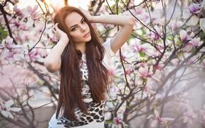 girl outdoors, sunlight, girl, trees, brown eyes, looking at viewer