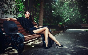 sitting, sun hats, high heels, dress, side view, sunglasses