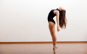 side view, girl indoors, bodysuit, ballet slippers, black clothing, ballet