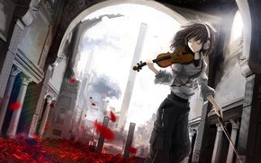 headphones, building, violin, architecture, anime girls, rose